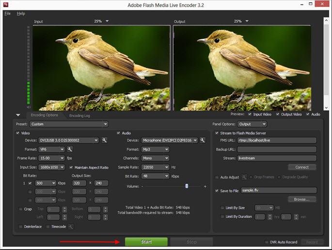 使用Adobe Flash直播编码器广播DVI,HDMI或VGA信号